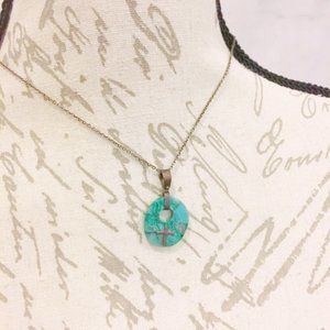 Green Stone Cross Necklace Religious Jewelry